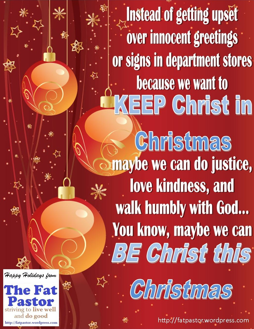 Keep Christ In Christmas The Fat Pastor