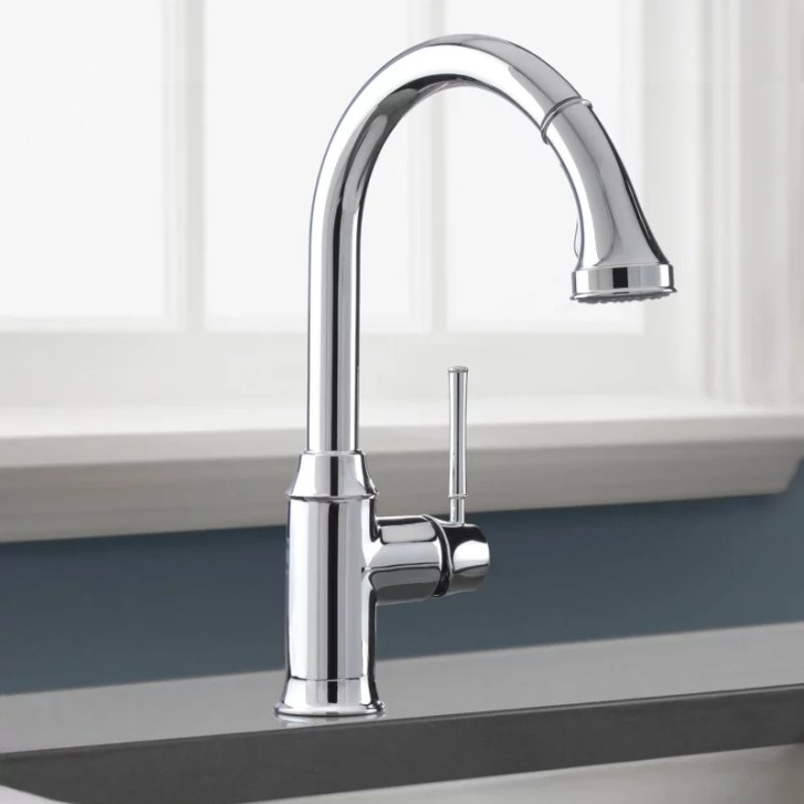 Hansgrohe Chrome Talis Pull Down Kitchen Faucet High