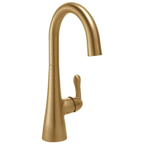 delta champagne bronze finish single lever handle 360 degree swivel spout contemporary water efficient bar sink faucet 729152