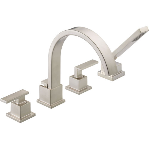 Delta Vero Stainless Steel Finish Roman Tub Faucet with Valve & Hand Spray D870V