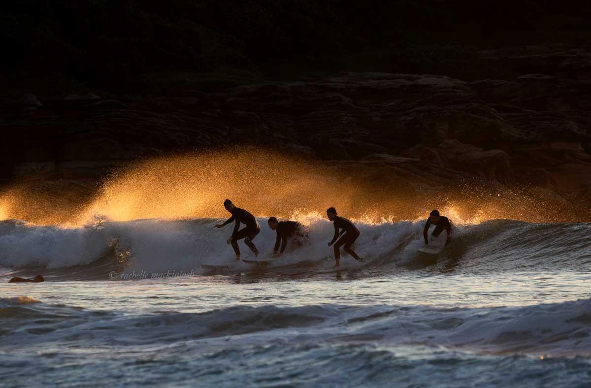 surfing sunrise maroubra winter