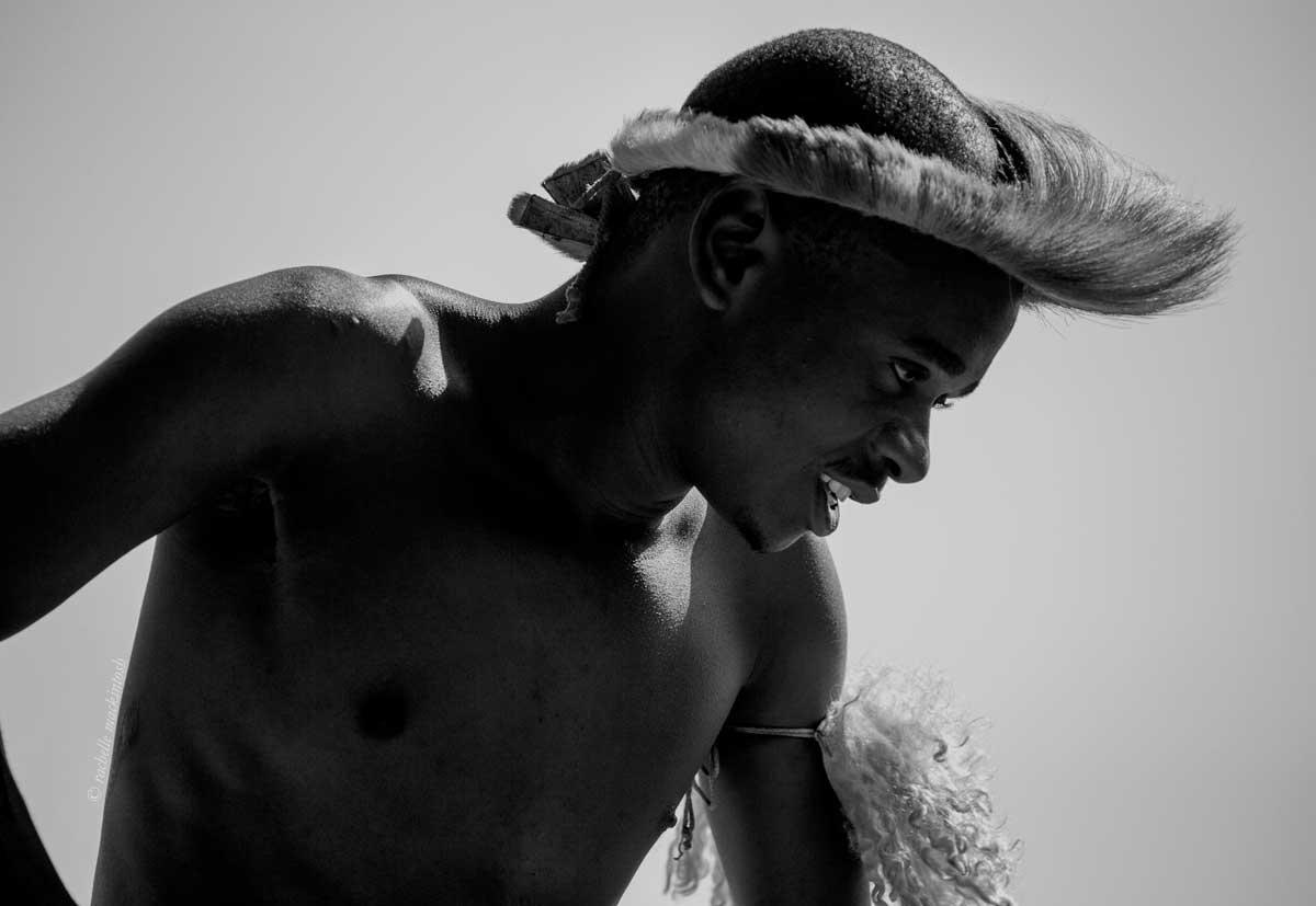 zulu warrior dancer durban south africa black and white