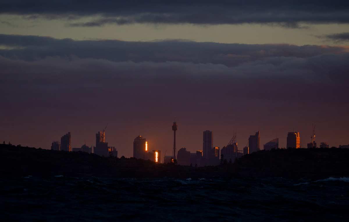 Sydney harbour skyline sunset winter