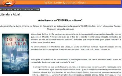 "Leite Quentee News – Release sobre o livro ""O Silêncio dos Livros"""
