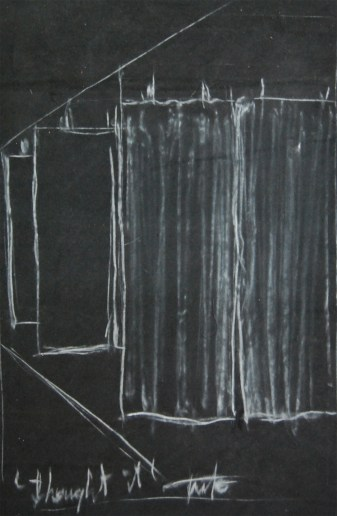 """Project for:""""One way"""",white pencil on fabric,2014, 29.7x42 (framed)"""
