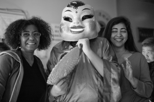 Our women: (L to R) Carline, dude in mask, Gari. Both women have a bubbly personality. Together they have more bubbles than a bottle of Willy Wonka Fizzy Lift Leica M-P / Summilux 50mm