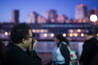 Me taking a picture of the Seattle skyline with the Leica M-P. Shot by Matt Gore with a Canon 5D Mk III and Sigma 50mm f1.4 Art Series