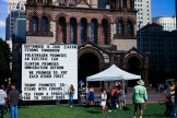 "A public artwork depicting ""promises"". Inspired by the current presidential campaigns. Copley Square, Boston, MA"