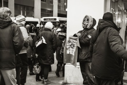 People try to make a buck on anything. This guy was selling Patriots themed Super Bowl t-shirt outside North Station.