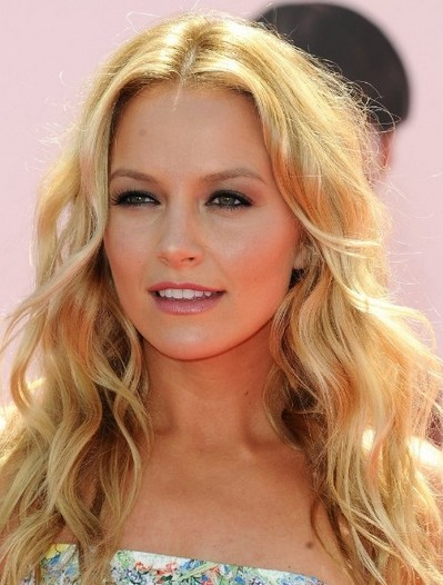 Long Blond Curly Wavy Hairstyle for Long Face