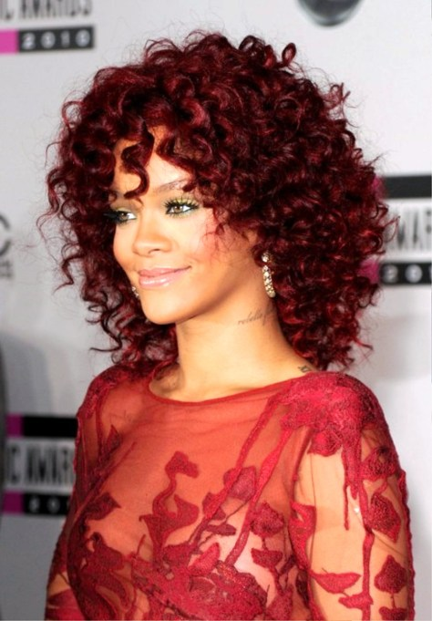 Rihanna Red Curly Hairstyles