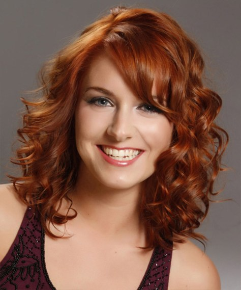 medium length curly hairstyles bangs