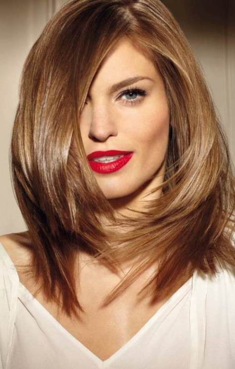 layered haircut for thick hair of medium length