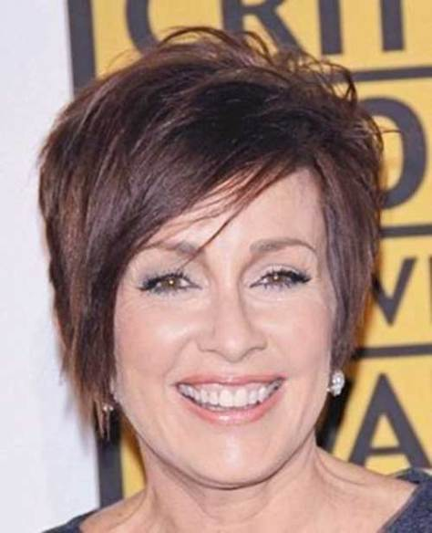 Layered Short Side Swept Hair Style Women Over 50