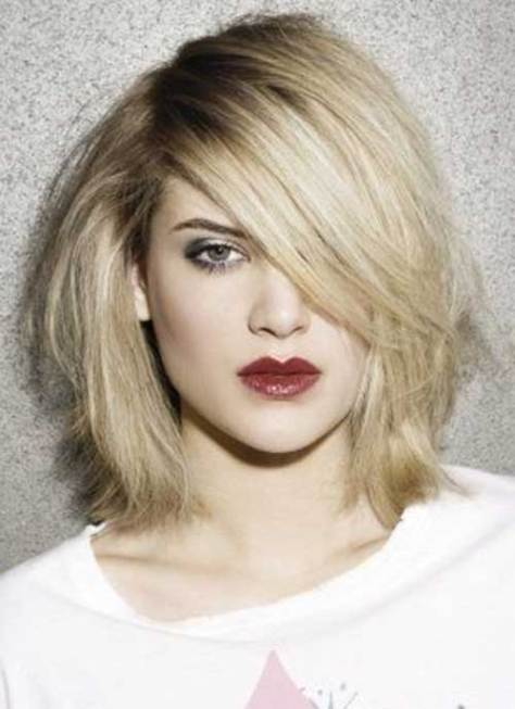 Blonde Colored Medium Short Haircut Ideas