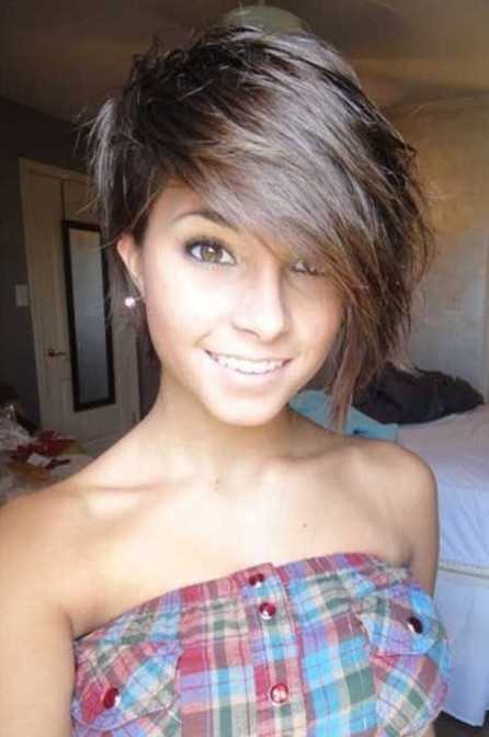 Short Haircut with Bangs for Girls 2016
