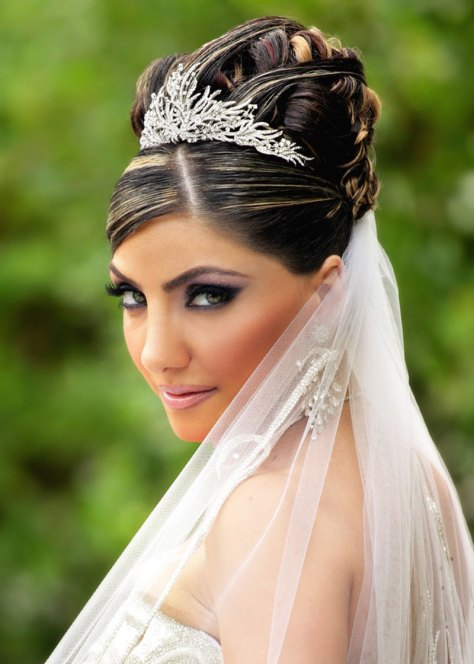 Wedding Hairstyle with Tiara and Veil