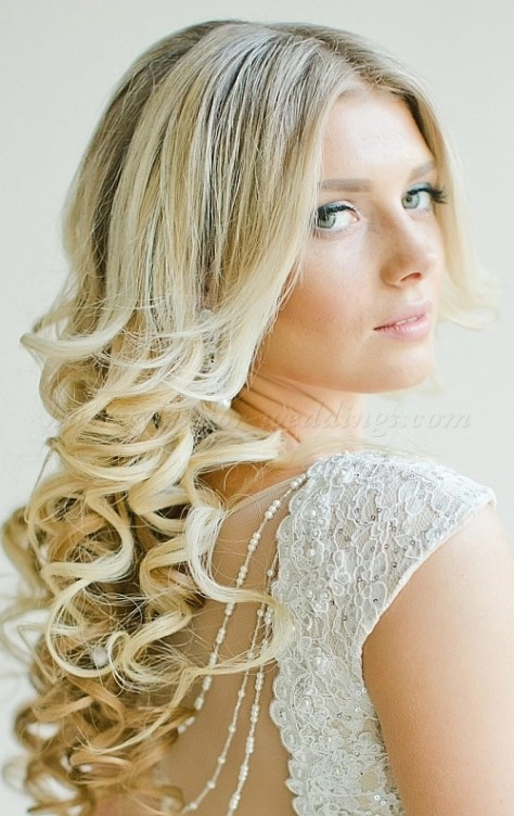 hair down wavy wedding hairstyle...