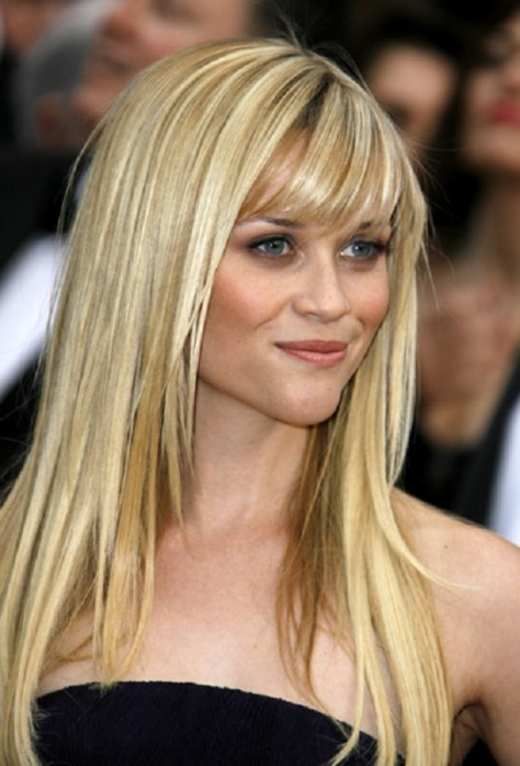 Long Blonde Hair with Bangs