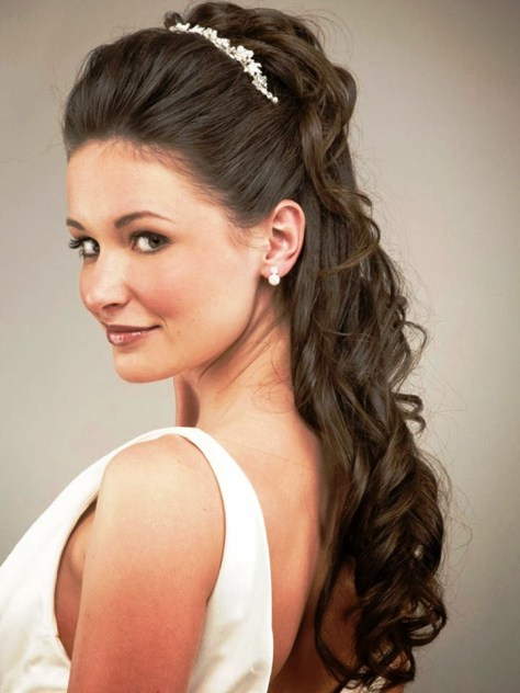 Long updo bun ponytail Bridesmaid Hairstyles