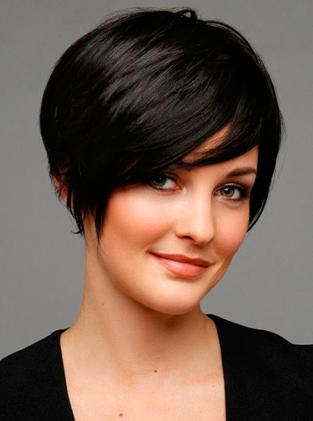 Neat sleek and smooth haircut for short hair.