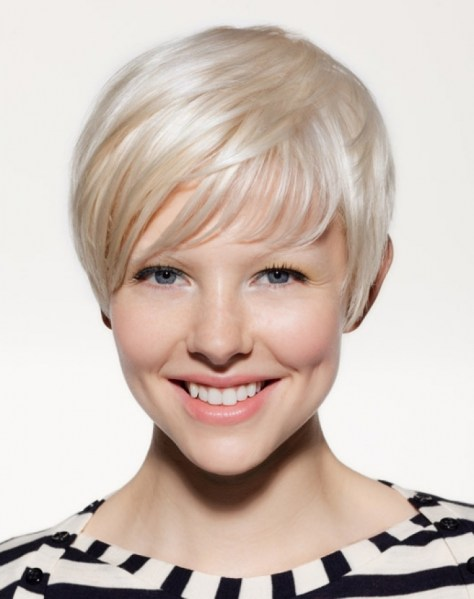 Short haircut that is composed to compliment her beauty and to exactly fit the shape of her head.