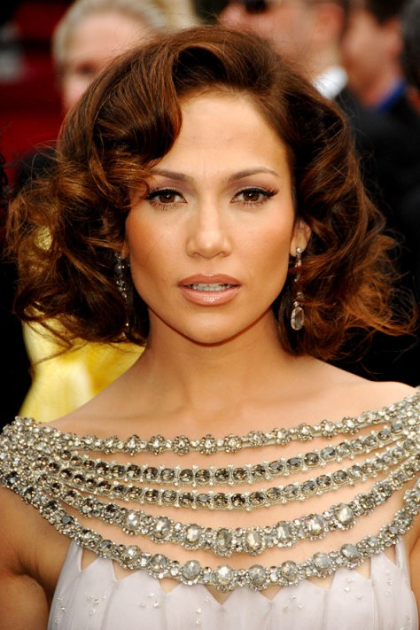 Medium long bob hairstyle with large curls