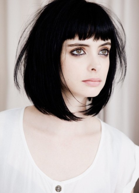 Intense dark tone with very bold short haircut and hard edged around the sides with a blunt fringe.