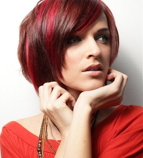 Youthful Bob Hairstyle with a longer fringe nape and a combination of hair colors