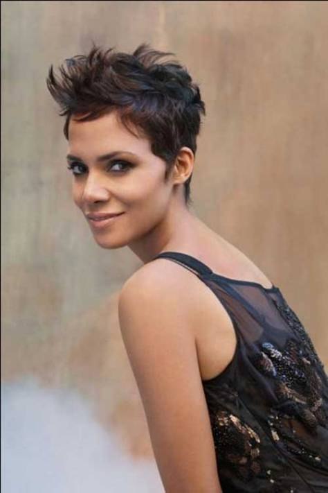Pixie with textured sides and a steep neckline