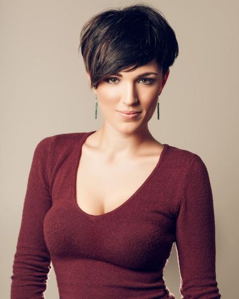 Short haircut with a tight fitting longer neck section