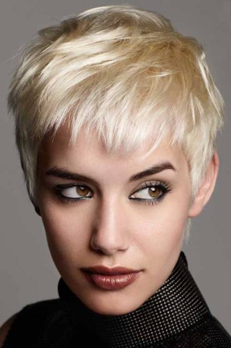 Blonde short crop hairstyle.
