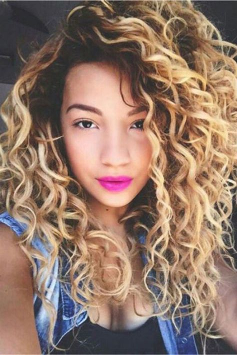 Hairstyle for blonde hair with wild curls