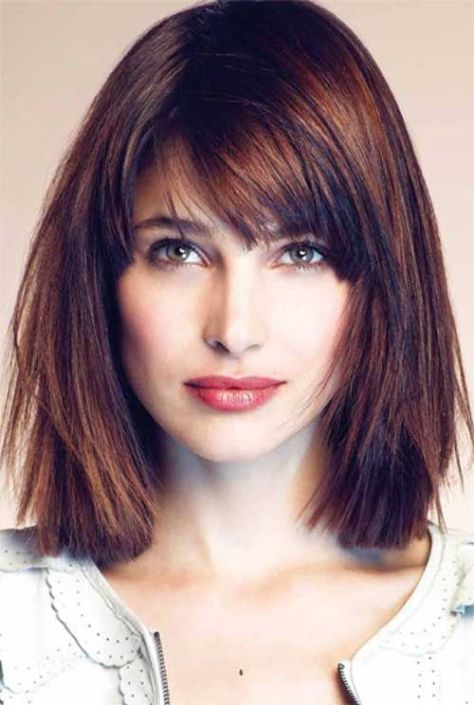 47 Sleek shoulder-length bob hairstyle with a curved fringe and lots of shine