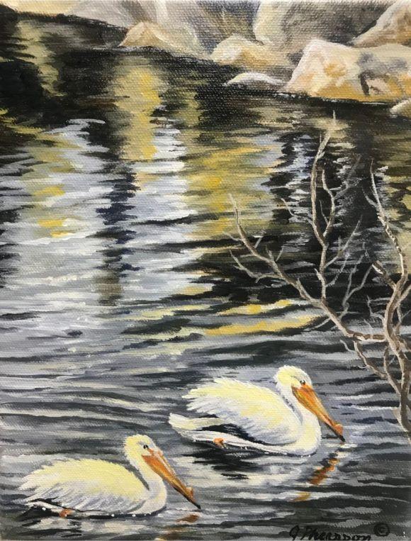 Harbor Pelicans by Judy Phearson