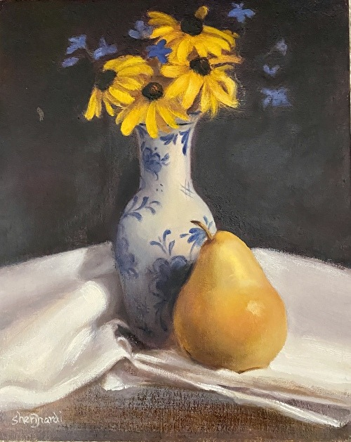 Susan in Vase with a Pear by Sheri Dinardi