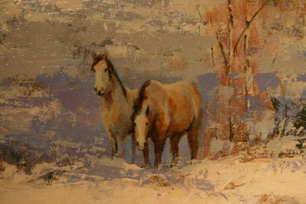 (Close-up) Mustangs in Winter by J. M. Brodrick