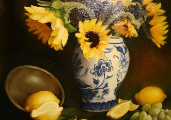 (Close-up) Sunflowers and Blue by Sheri Dinardi