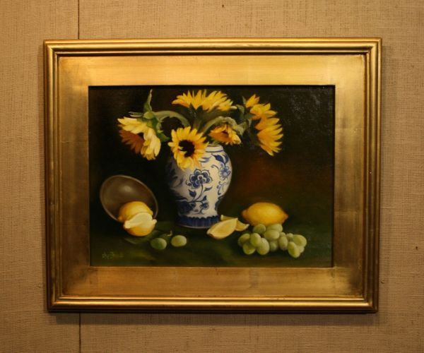 (Frame) Sunflowers and Blue by Sheri Dinardi