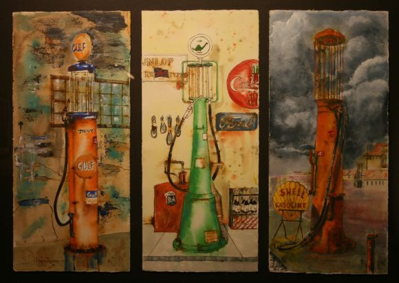 Gas Pumps (Triptych) by Ron Raasch