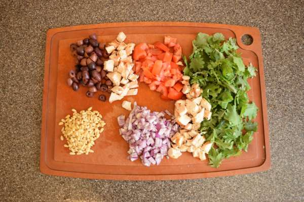 Ingredients for a Meditereanean bowl