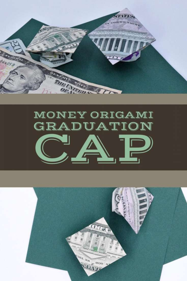 How to fold a Dollar Origami Gift for High School Graduates, includes video. Make that basic money gift so much more impressive | Fave Mom
