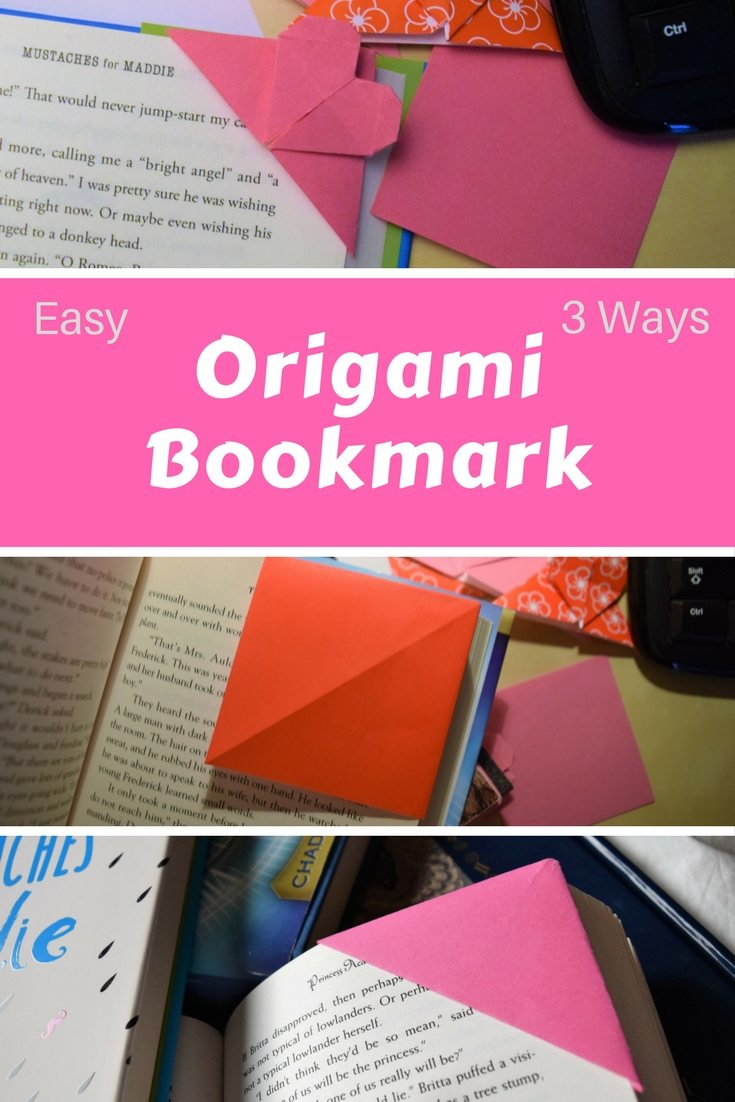 make a cute corner bookmark from a regular piece of paper with origami #origami #bookmark #DIY #kidcrafts #valentinesday #valentines