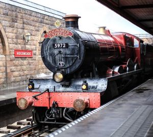 Hogwarts Express Train stopped at a station