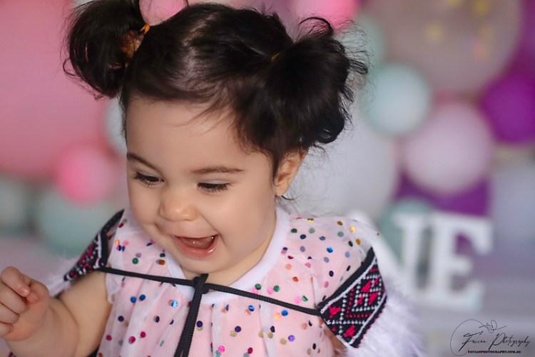 Baby girl Birthday Cakesmash photoshoot Brisbane
