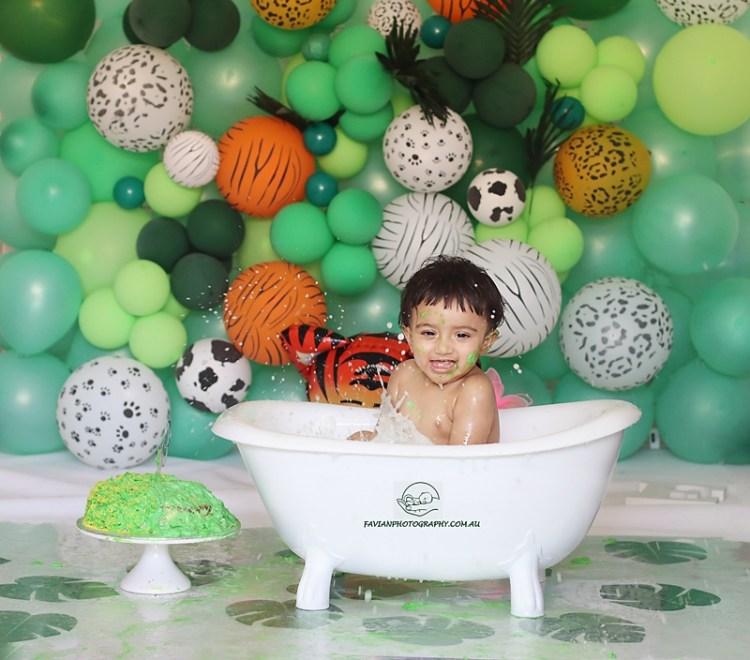 Baby boy Birthday Cakesmash photoshoot Brisbane