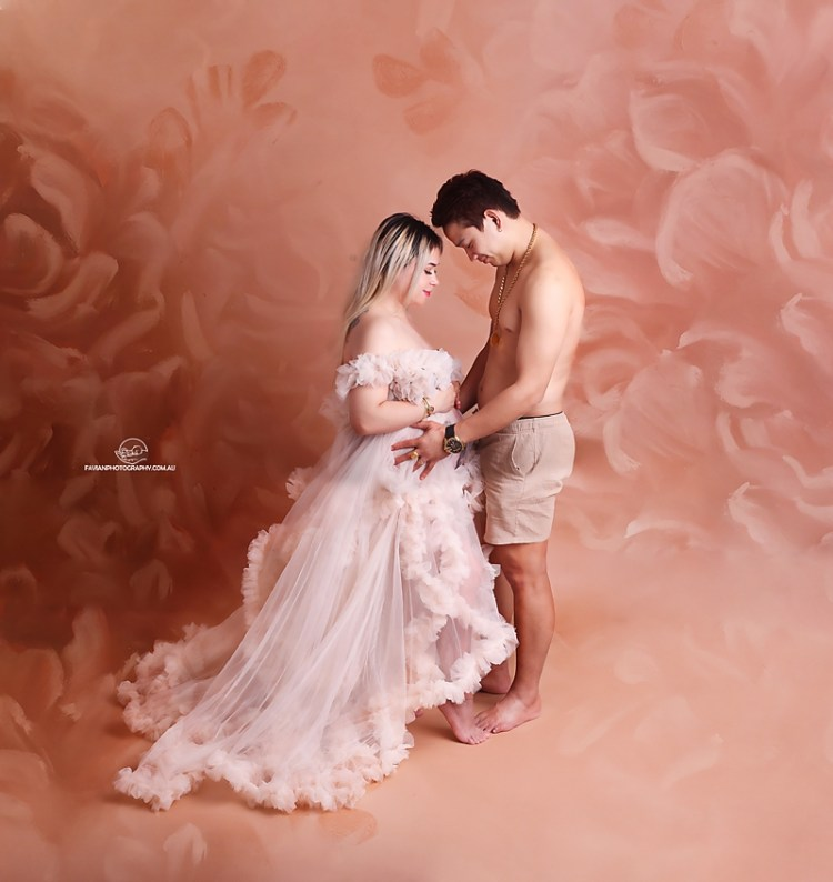 Brisbane Maternity and pregnant photo shoot with gorgeous dress and p[partner