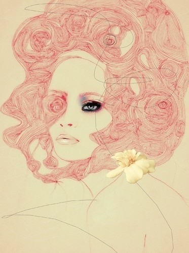 art, beauty, drawings, fashion illustration, flower, illustration girl