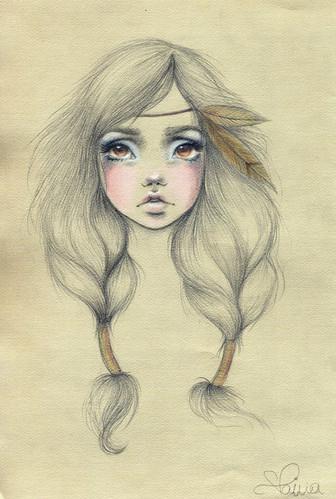 art, blonde, blue, brown, detail, drawing