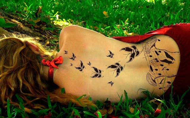 butterfly, inspiration, music, red, woman, MUJER. MARIPOSAS